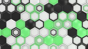 Abstract 3d background made of black, white and green hexagons on white background.jpg Stock Photos