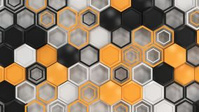 Abstract 3d background made of black, white and orange hexagons on white background. Wall of hexagons. Honeycomb pattern. 3D render illustration Royalty Free Stock Photos