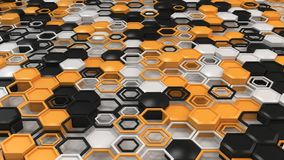 Abstract 3d background made of black, white and orange hexagons on white background. Wall of hexagons. Honeycomb pattern. 3D render illustration Stock Photography