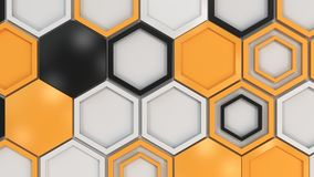 Abstract 3d background made of black, white and orange hexagons on white background. Wall of hexagons. Honeycomb pattern. 3D render illustration Stock Illustration