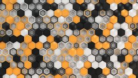 Abstract 3d background made of black, white and orange hexagons on white background. Wall of hexagons. Honeycomb pattern. 3D render illustration Royalty Free Stock Photography