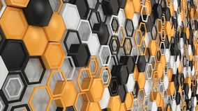 Abstract 3d background made of black, white and orange hexagons on white background. Wall of hexagons. Honeycomb pattern. 3D render illustration Stock Image