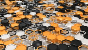 Abstract 3d background made of black, white and orange hexagons on white background. Wall of hexagons. Honeycomb pattern. 3D render illustration Stock Photos