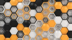 Abstract 3d background made of black, white and orange hexagons on white background. Wall of hexagons. Honeycomb pattern. 3D render illustration Royalty Free Stock Image