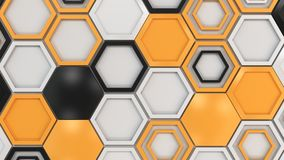 Abstract 3d background made of black, white and orange hexagons on white background. Wall of hexagons. Honeycomb pattern. 3D render illustration royalty free illustration