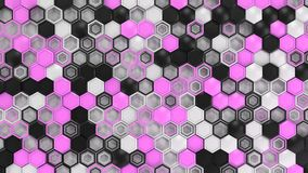 Abstract 3d background made of black, white and purple hexagons. On white background. Wall of hexagons. Honeycomb pattern. 3D render illustration Royalty Free Stock Photography