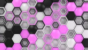Abstract 3d background made of black, white and purple hexagons. On white background. Wall of hexagons. Honeycomb pattern. 3D render illustration Royalty Free Stock Images