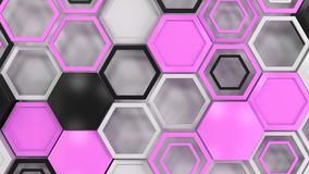 Abstract 3d background made of black, white and purple hexagons. On white background. Wall of hexagons. Honeycomb pattern. 3D render illustration Royalty Free Stock Image