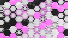 Abstract 3d background made of black, white and purple hexagons. On white background. Wall of hexagons. Honeycomb pattern. 3D render illustration royalty free illustration
