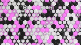 Abstract 3d background made of black, white and purple hexagons. On white background. Wall of hexagons. Honeycomb pattern. 3D render illustration stock illustration
