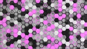 Abstract 3d background made of black, white and purple hexagons. On white background. Wall of hexagons. Honeycomb pattern. 3D render illustration Stock Photo