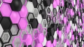 Abstract 3d background made of black, white and purple hexagons. On white background. Wall of hexagons. Honeycomb pattern. 3D render illustration Royalty Free Stock Photo