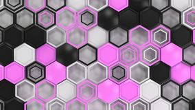 Abstract 3d background made of black, white and purple hexagons. On white background. Wall of hexagons. Honeycomb pattern. 3D render illustration Stock Photos