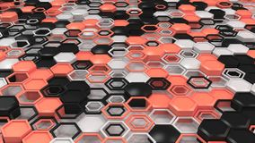 Abstract 3d background made of black, white and red hexagons on white background. Wall of hexagons. Honeycomb pattern. 3D render illustration Stock Photos