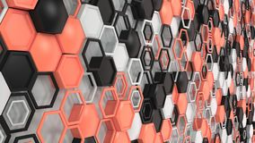Abstract 3d background made of black, white and red hexagons on white background. Wall of hexagons. Honeycomb pattern. 3D render illustration Stock Image