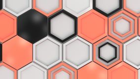 Abstract 3d background made of black, white and red hexagons on white background. Wall of hexagons. Honeycomb pattern. 3D render illustration Royalty Free Stock Photo