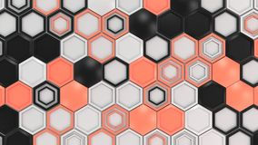 Abstract 3d background made of black, white and red hexagons on white background. Wall of hexagons. Honeycomb pattern. 3D render illustration Royalty Free Stock Image
