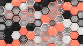 Abstract 3d background made of black, white and red hexagons on white background. Wall of hexagons. Honeycomb pattern. 3D render illustration Stock Images