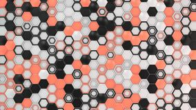 Abstract 3d background made of black, white and red hexagons on white background. Wall of hexagons. Honeycomb pattern. 3D render illustration Royalty Free Stock Images