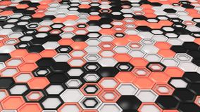 Abstract 3d background made of black, white and red hexagons on white background. Wall of hexagons. Honeycomb pattern. 3D render illustration Royalty Free Stock Photos