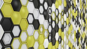 Abstract 3d background made of black, white and yellow hexagons on white background. Wall of hexagons. Honeycomb pattern. 3D render illustration royalty free illustration