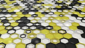 Abstract 3d background made of black, white and yellow hexagons on white background. Wall of hexagons. Honeycomb pattern. 3D render illustration stock illustration