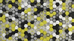 Abstract 3d background made of black, white and yellow hexagons on white background. Wall of hexagons. Honeycomb pattern. 3D render illustration Royalty Free Stock Photography