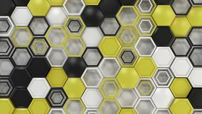 Abstract 3d background made of black, white and yellow hexagons on white background. Wall of hexagons. Honeycomb pattern. 3D render illustration Stock Image