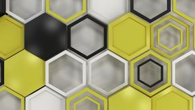 Abstract 3d background made of black, white and yellow hexagons on white background. Wall of hexagons. Honeycomb pattern. 3D render illustration Royalty Free Stock Photos