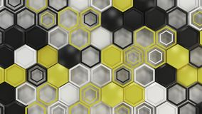 Abstract 3d background made of black, white and yellow hexagons on white background. Wall of hexagons. Honeycomb pattern. 3D render illustration Stock Images