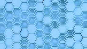 Abstract 3d background made of blue hexagons. Wall of hexagons. Honeycomb pattern. 3D render illustration Royalty Free Stock Photo