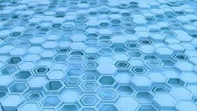 Abstract 3d background made of blue hexagons. Wall of hexagons. Honeycomb pattern. 3D render illustration Stock Photos