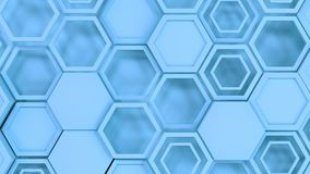 Abstract 3d background made of blue hexagons. Wall of hexagons. Honeycomb pattern. 3D render illustration Stock Image