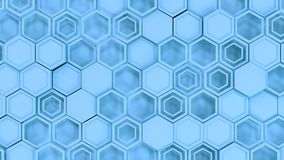 Abstract 3d background made of blue hexagons. Wall of hexagons. Honeycomb pattern. 3D render illustration Stock Photo