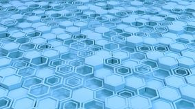 Abstract 3d background made of blue hexagons. Wall of hexagons. Honeycomb pattern. 3D render illustration Royalty Free Stock Photos