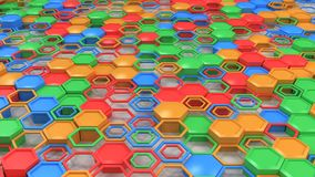 Abstract 3d background made of blue, red, green and orange hexag. Ons on white background. Wall of hexagons. Honeycomb pattern. 3D render illustration Royalty Free Stock Image