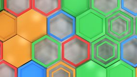 Abstract 3d background made of blue, red, green and orange hexag. Ons on white background. Wall of hexagons. Honeycomb pattern. 3D render illustration Stock Photography