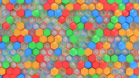 Abstract 3d background made of blue, red, green and orange hexag. Ons on white background. Wall of hexagons. Honeycomb pattern. 3D render illustration Stock Image