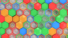 Abstract 3d background made of blue, red, green and orange hexag. Ons on white background. Wall of hexagons. Honeycomb pattern. 3D render illustration Stock Images
