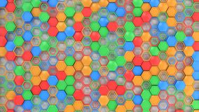 Abstract 3d background made of blue, red, green and orange hexag. Ons on white background. Wall of hexagons. Honeycomb pattern. 3D render illustration Royalty Free Stock Photo