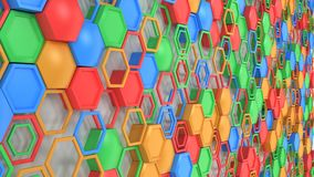 Abstract 3d background made of blue, red, green and orange hexag. Ons on white background. Wall of hexagons. Honeycomb pattern. 3D render illustration Stock Photos