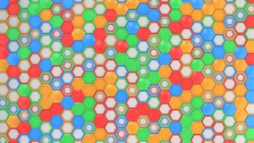 Abstract 3d background made of blue, red, green and orange hexagons on white background. Wall of hexagons. Honeycomb pattern. 3D render illustration Royalty Free Stock Image