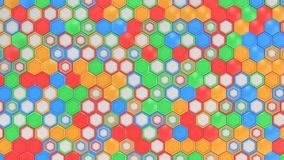 Abstract 3d background made of blue, red, green and orange hexagons on white background. Wall of hexagons. Honeycomb pattern. 3D render illustration Stock Images