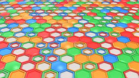 Abstract 3d background made of blue, red, green and orange hexagons on white background. Wall of hexagons. Honeycomb pattern. 3D render illustration Stock Photo