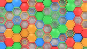 Abstract 3d background made of blue, red, green and orange hexag. Ons on white background. Wall of hexagons. Honeycomb pattern. 3D render illustration Royalty Free Stock Photos