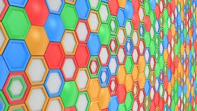 Abstract 3d background made of blue, red, green and orange hexagons on white background. Wall of hexagons. Honeycomb pattern. 3D render illustration Royalty Free Stock Photo