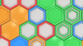 Abstract 3d background made of blue, red, green and orange hexagons on white background. Wall of hexagons. Honeycomb pattern. 3D render illustration Royalty Free Stock Photos
