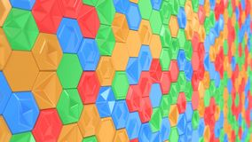 Abstract 3d background made of colorful hexagons. Wall of hexagons. Honeycomb pattern. 3D render illustration Stock Photo