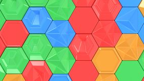 Abstract 3d background made of colorful hexagons. Wall of hexagons. Honeycomb pattern. 3D render illustration Royalty Free Stock Photo