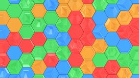 Abstract 3d background made of colorful hexagons. Wall of hexagons. Honeycomb pattern. 3D render illustration Royalty Free Stock Images